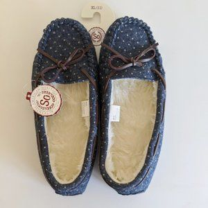 SO Blue Polka Dot Moccasin Slippers Size XL